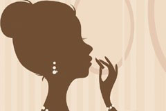 女性化妆剪影矢量素材