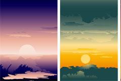 美丽的落日风光矢量素材