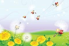可爱小瓢虫与花朵矢量素材