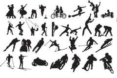 各种体育运动动作剪影矢量素材大
