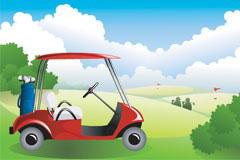 高尔夫球场风景矢量素材