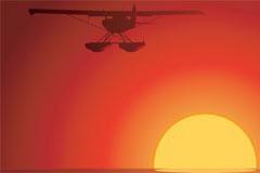 夕阳与飞机风景矢量素材