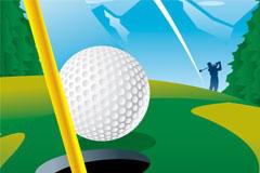 一款高尔夫进球瞬间矢量素材