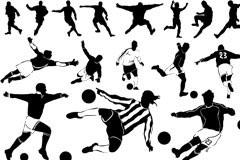 各种足球运动主题元素及人物剪影矢量素材下载