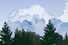 森林上的天空风景矢量素材