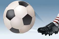 一款踢足球起脚瞬间矢量素材