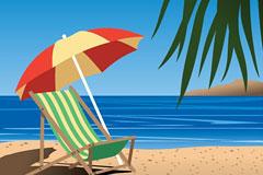 夏日美丽悠闲的海滨风光矢量素材