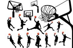 一组篮球动作剪影及篮球架矢量素材