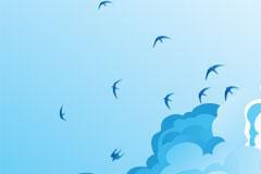 自由翱翔在蓝天白云上的飞鸟矢量素材