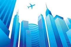 蓝色城市建筑矢量素材