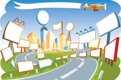 一款可爱的卡通城市风景矢量素材