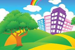 一款色彩缤纷的卡通风景矢量素材