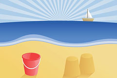 海滩与小船矢量素材