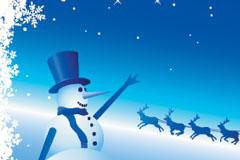 圣诞节雪人雪景矢量素材