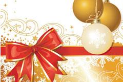 一款圣诞节挂球和蝴蝶结矢量素材
