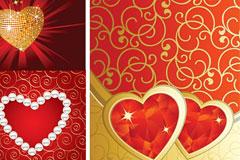 三款情人节心形花纹矢量素材包