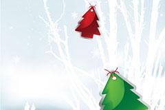 一款唯美圣诞节雪景矢量素材