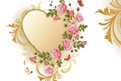 一款玫瑰花心形花纹矢量素材包