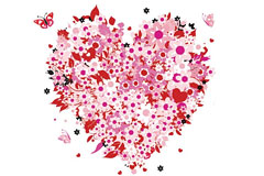 一款超漂亮的心形花束EPS素材