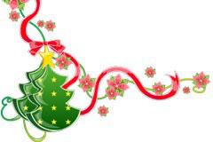 圣诞节花边圣诞树剪纸AI矢量素材