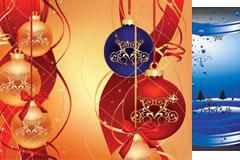 四款精致圣诞节挂球EPS矢量素材