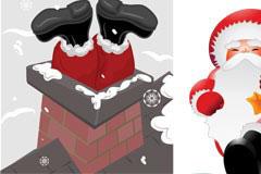 四款卡通圣诞老人矢量素材