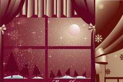两款紫色风格的圣诞节插画EPS矢量素材
