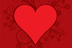 红色心形花纹矢量素材