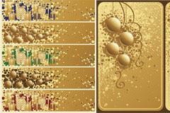 3款金色系列圣诞节矢量素材