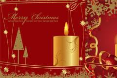 3款红色圣诞节蜡烛矢量素材