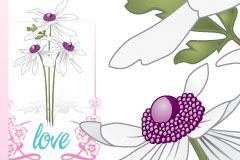 白色花朵花边矢量素材