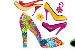 几款漂亮时尚的女性高跟鞋矢量素材