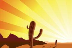 日落时沙漠中的仙人掌矢量素材
