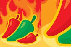 辣椒和火焰背景矢量素材