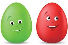 可爱的卡通彩色鸡蛋矢量素材