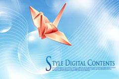 带着祝福的纸鹤与梦幻背景矢量素材