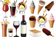 各种冰淇淋雪糕和夏日饮品矢量素材