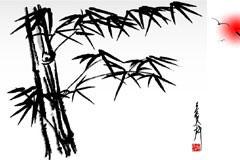 水墨竹子矢量素材