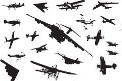 多款战斗机剪影矢量素材