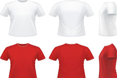 红白T恤矢量素材
