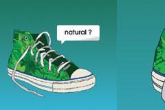时尚绿色帆布运动鞋矢量素材