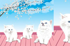 屋顶上顽皮可爱的白色猫咪矢量素材