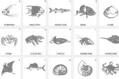 黑白海洋生物矢量素材