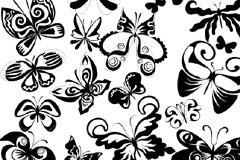 黑白蝴蝶花纹矢量素材