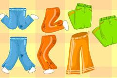 卡通彩色裤子矢量素材