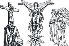 耶稣圣女西方神话人物素描矢量素材
