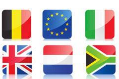 各国国旗水晶图标矢量素材
