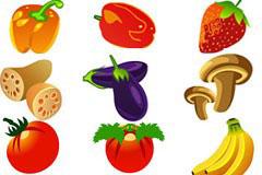 各种果蔬花卉体育用品图标矢量素材
