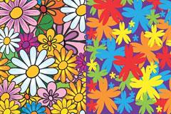 2款可爱的手绘花朵背景矢量素材