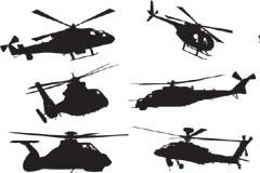 多款直升飞机剪影矢量素材